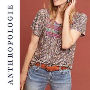 Anthropologie Embroidered Floral Yoke Top Sz XS